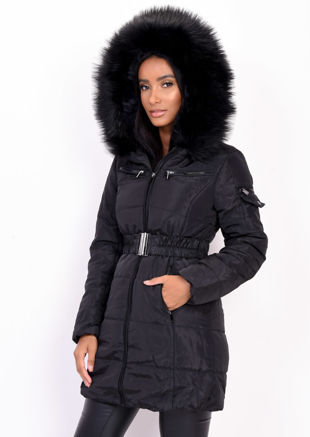 Belted Faux Fur Hooded Longline Puffer Coat Black