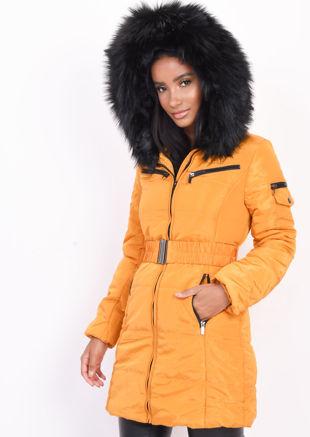 Belted Faux Fur Hooded Longline Puffer Coat Mustard Yellow