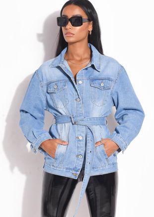 Belted Mid Wash Denim Jacket Blue