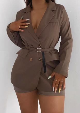 Belted Oversized Boyfriend Double Breasted Blazer Jacket Brown