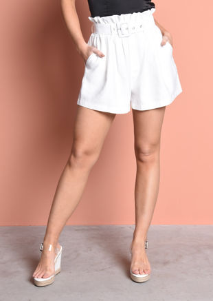 Belted Paperbag Textured Shorts Cream White