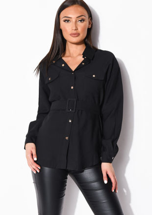 Belted Utility Long Sleeve Shirt Black