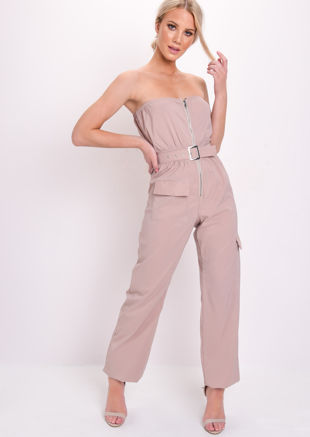 Belted Utility Zip Detail Bandeau Jumpsuit Stone Beige