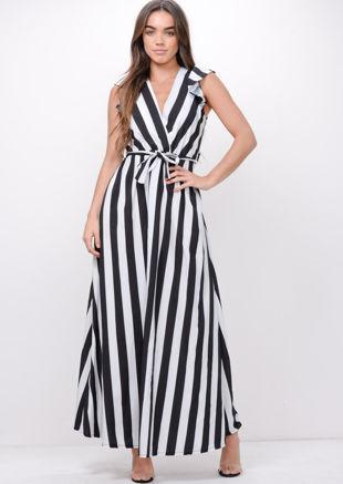 Black Bold Stripe Tie Waist Maxi Dress White