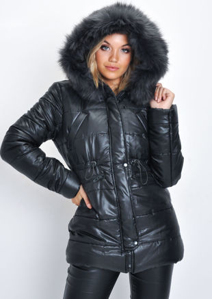 Black Faux Fur Hooded Padded Longline Puffer Coat Black