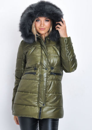 Black Faux Fur Hooded Padded Longline Puffer Coat Khaki Green