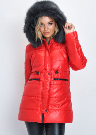 Black Faux Fur Hooded Padded Longline Puffer Coat Red