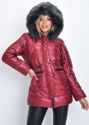 Black Faux Fur Hooded Padded Longline Puffer Coat Wine Red