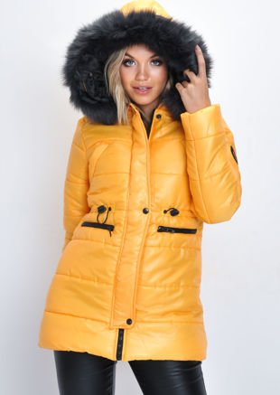 Black Faux Fur Hooded Padded Longline Puffer Coat Yellow
