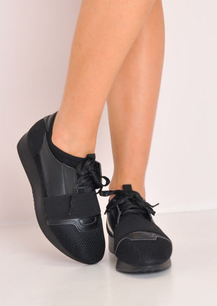 Black Sole Lace Up Elastic Strap Trainers Black