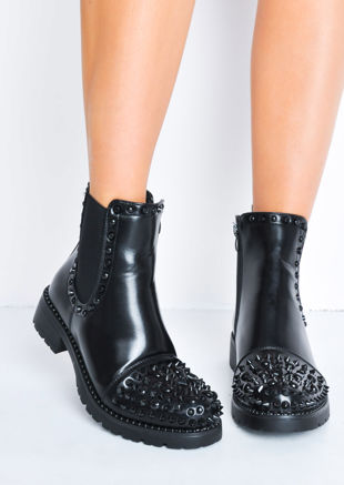Black Studded Faux Leather Chelsea Ankle Boots Black