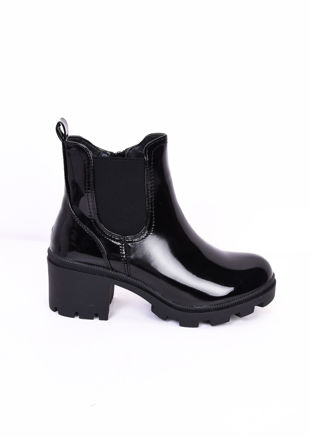 Block Heel Patent Side Zip Cleated Ankle Boots Black