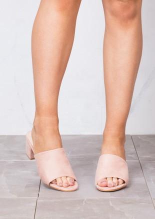 Block Heels Suede Heeled Mule Sandals Pink