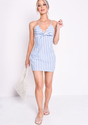 Blue Stripe A Line Slip Mini Cami Dress White