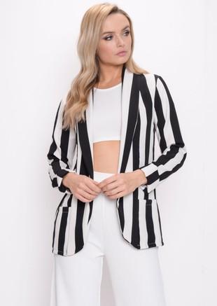 Bold Stripe Blazer Black