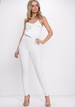 Bow Front Jumpsuit White