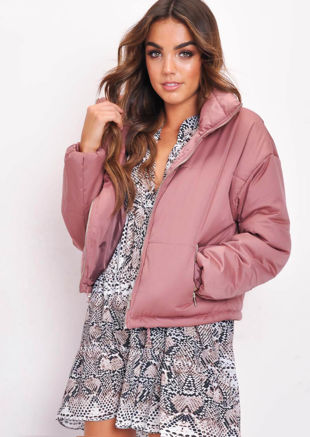 Padded Quilted Fully Lined High Collared Crop Puffer Jacket Coat Blush Pink