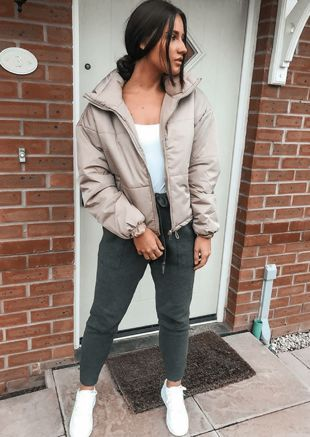 Padded Quilted High Collar Crop Puffer Jacket Beige