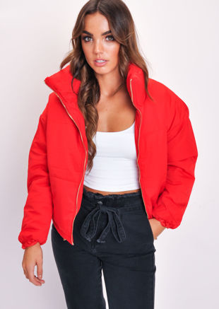 f5ff6da06227a Padded Quilted Fully Lined High Collared Crop Puffer Jacket Red