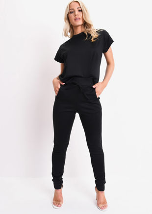 Boxy Short Sleeve Lounge Co Ord Set Black