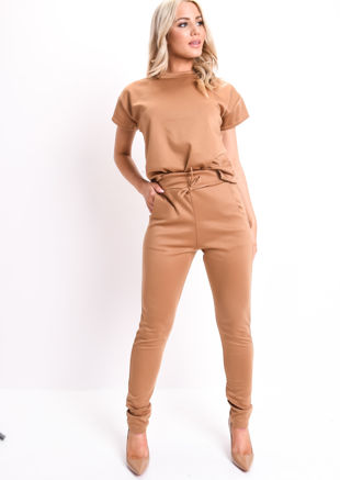 03a23d327a47 Boxy Short Sleeve Lounge Co Ord Set Tan Brown