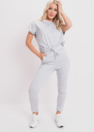 Boxy Short Sleeve Lounge Co Ord Set Grey