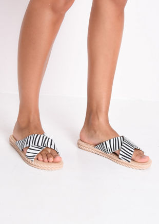 Braided Detail Cross Over Zebra Print Sliders Multi