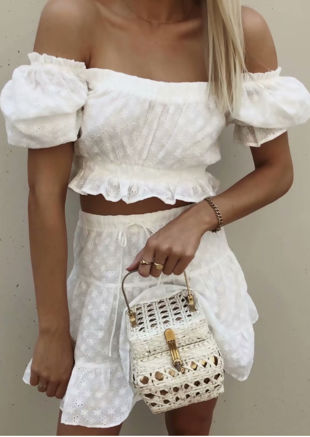 Broderie Anglaise Cropped Top Mini Skirt Co Ord Set White