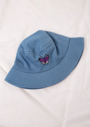 Butterfly Embroidered Bucket Hat Blue