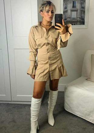 Button Down Bell Sleeve Cinched Waist Mini Shirt Dress Beige