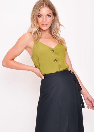 ButtonFront Cami Top Khaki Green