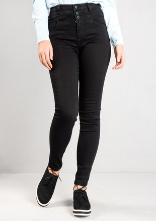 Button Front High Rise Skinny Denim Jeans Black