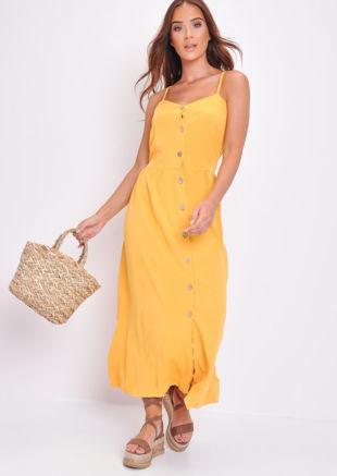 Button Through Cami Maxi Dress Mustard Yellow
