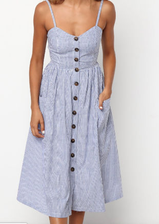 Stripe Button Through Midi Dress Blue