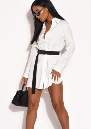 Button Through Oversized Cotton Shirt Dress White
