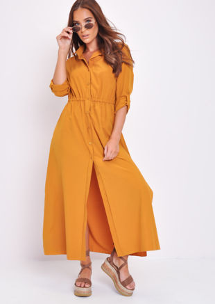Button Through Shirt Maxi Dress Mustard Yellow