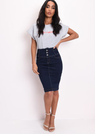 Button Up High Waisted Denim Midi Skirt Blue