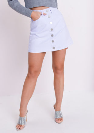 Button Up Mini Denim Skirt Pale Blue