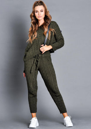 77559eacd313 Cable Knit Loungewear Set Khaki Green