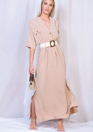 Cargo Side Splits Maxi Shirt Dress Nude Beige