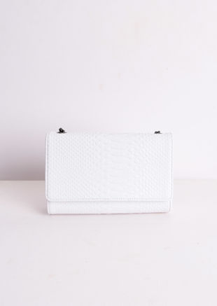 Chain Cross Body Croc Print Bag White