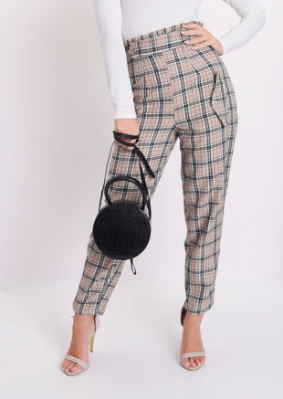Check Paperbag High Waisted Tailored Trousers Beige