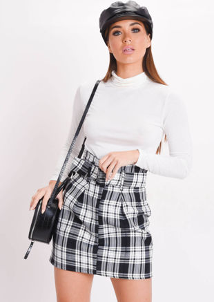Check Paperbag Waist Belted Mini Skirt Black