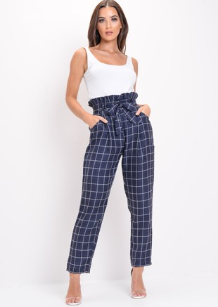 Checked Paperbag High Waisted Tailored Trousers Navy Blue
