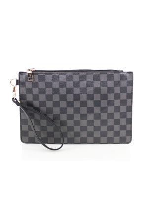 Check Pattern Clutch Bag Black