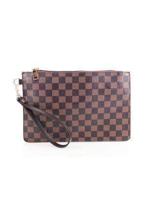 Check Pattern Clutch Bag Brown