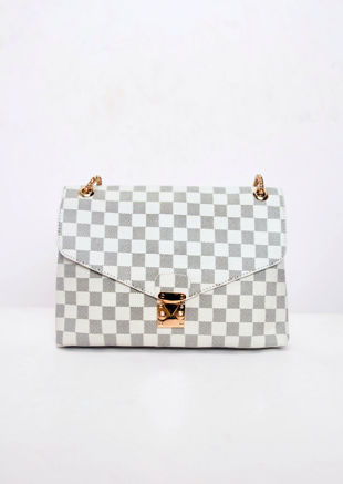 Checkered Shoulder Gold Chain Strap Bag White