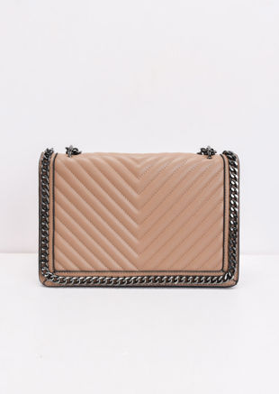 Chevron Chain Shoulder Bag Brown