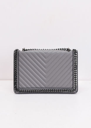 Chevron Chain Shoulder Bag Grey