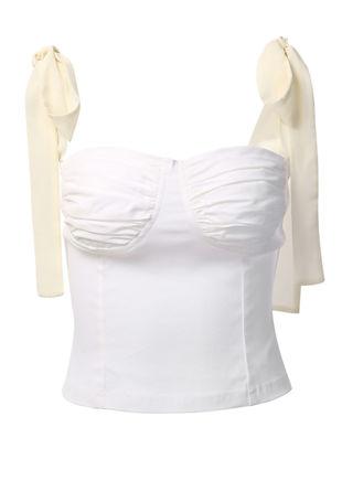 Chiffon Ribbon Tie Up Shoulder Cup Detail Crop Top White